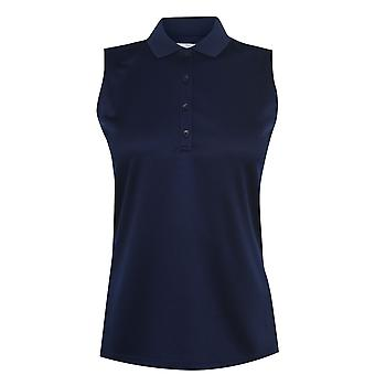 Callaway Womens SL Knit Sleeveless 4 Front Buttons Polo Collar Top Blouse