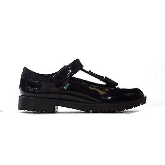Kickers Lachly Bow T-Bar Patent Leather Junior Kids Girls School Shoe Black