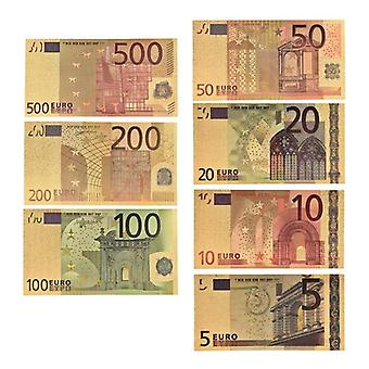 7pcs/lot 5 / 10 / 20 / 50 / 100 / 200 / 500 Eur Gold Banknotes In 24k Gold Fake