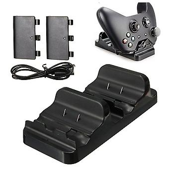 Dual Charging Station Dock Stand + 2 Battery For Xbox One Wireless Controller-hot (black)