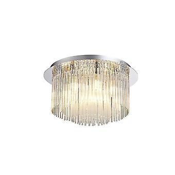 Oświetlenie Luminosa - Półstynkowe światło sufitowe, 6 x G9, IP44, polerowany chrom, szkło bez przezroczyste