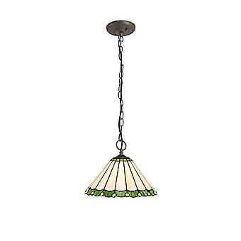 Luminosa Lighting - 3 Light Downlighter Sufit Wisiorek E27 z 30cm Tiffany Shade, Zielony, Kryształ, W wieku Antyczny Mosiądz