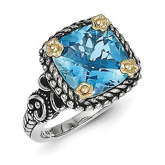 925 Sterling Silver Polished Prong set Antique finish With 14k 4.50Swiss Blue Topaz Ring  Jewelry Gifts for Women - Ring