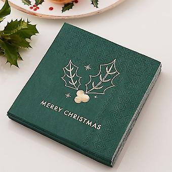 Zelené Veselé vánoční koktejlové ubrousky x 16