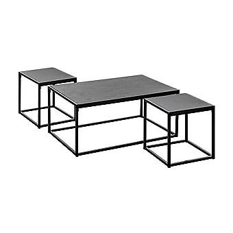 Industrial Coffee Table & Side Tables - Black Wood / Steel Frame - Set of 3