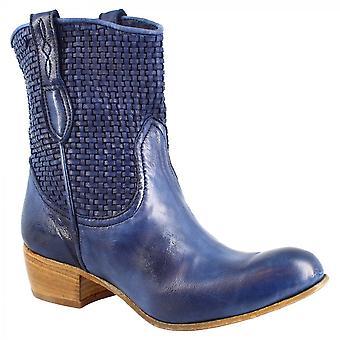 Leonardo Shoes Femmes'bottes de cow-boy à talons bas faites à la main en cuir de veau tissé bleu
