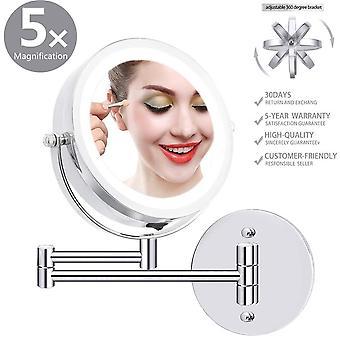 "Led Wand montiert Make-up Spiegel, 6.7"" Durchmesser Vergrößerung 360° Drehbar"