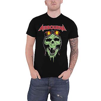 Airbourne T Shirt Hell Pilot Skull Glow Band Logo new Official Mens Black