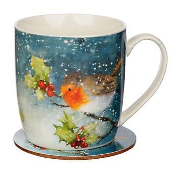 Jan Pashley Navidad Robin taza de porcelana y Coaster Set