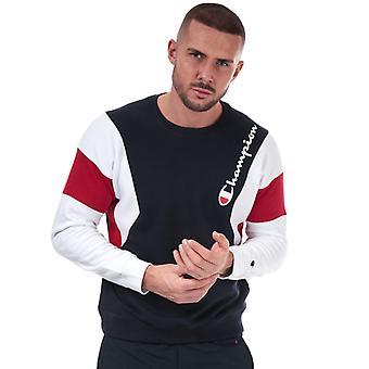 Heren's Champion Colour Block Sweatshirt in Blauw