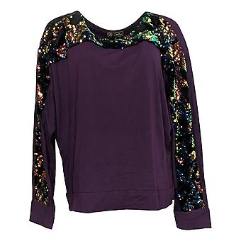 DG2 by Diane Gilman Women's Top Fig Purple Sequins Polyester 693-634