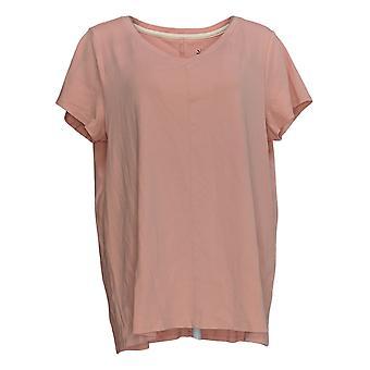 Isaac Mizrahi Live! Women's Top Pima Cotton V-Neck Tunic Pink A289636
