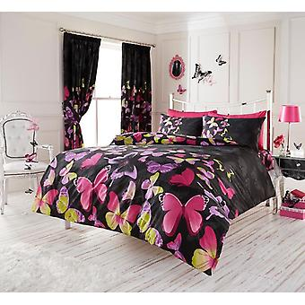 Fashion Butterfly Black Reversible Duvet Cover with Matching Pillowcase, Single
