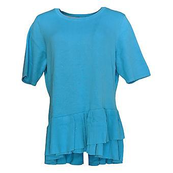 Isaac Mizrahi Live! Frauen's Pullover Ellenbogen-Sleeve Rüschen Peplum Blau A352389