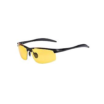Polarized Lens Anti-glare Metal Frame Yellow Driving Goggles
