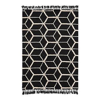 Arabiska Geometrisk 063305 Geometric Tassel Rugs In Black Beige By Brink And Campman