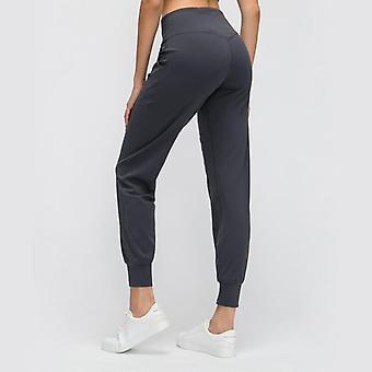 Naken-feel Borstad Squat Proof Kvinnor Workout Sport Joggers med fickor