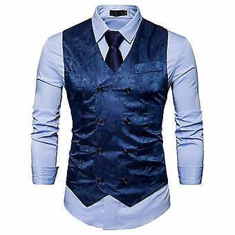 Men Fashion Casual Suit Vest Work Coat Men Waistcoat Blazer