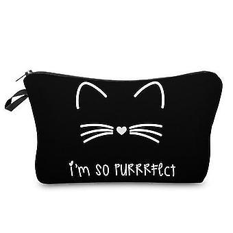 Women's Cat Print Cosmetic Bag (black)