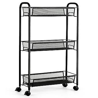 3-Tier Organizer Trolley Shelf Multifunction Rolling Storage Cart Home Office