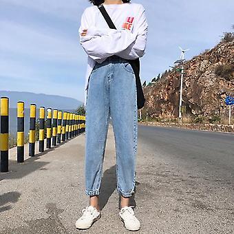 Korkea vyötärö korealainen tyyli joustava muoti slim kaikki ottelu pesty streetwear