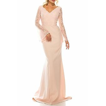Beaded Lace & Crepe Sheath Evening Gown