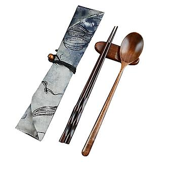 Chopstick Spoons Handmade Japanese Natural Wood Set With Pocket Bamboo