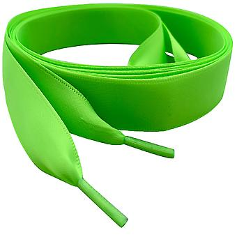 Key Lime Green Satin Ribbon Shoelaces Laces