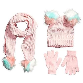 Spotted Zebra Girls' Kids Hat Scarf Mittens Gloves Cold Weather Accessories, 3-Piece Blush Sparkle Set, Small