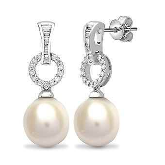 Jewelco London Ladies Solid 18ct White Gold 4 Claw Set G SI1 0.42ct Diamond and Oval Pearl Full Moon Drop Boucles d'oreilles