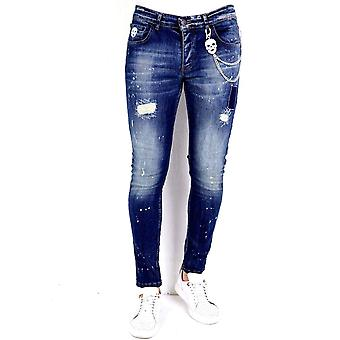 Jeans With Paint Splashes - 1010 - Blue