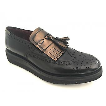 Moccasic Woman Gas N. Bearded Two-Tone Black Bronze D16nb02