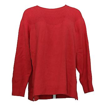 Isaac Mizrahi Live! Women's Sweater Plus Ribbed Neck Pullover Red A389126