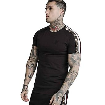 SikSilk Jacquard Raglan Tech T-Shirt - Black