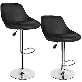 tectake Sæt med 2 barstole 59-79cm - sort