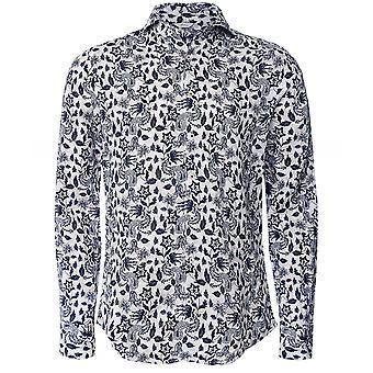 Stenstroms Slimline Linen Floral Paisley Shirt