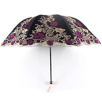 Lace Folding Women Rain Umbrella(Black)