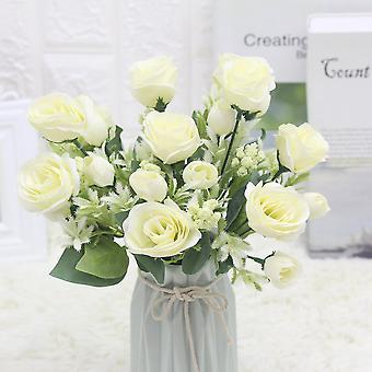 5pcs flor artificial rica rosa novia ramo seco flor falsa regalo de flores para las mujeres