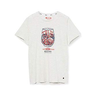 MUSTANG Aaron C Print T-Shirt, Grå (Grau Meliert 2064), Liten man