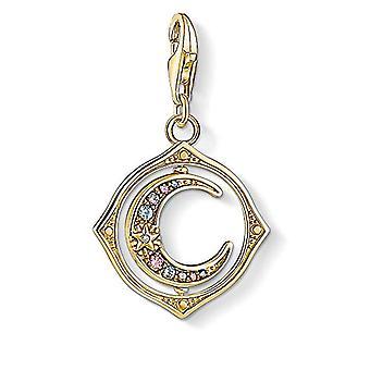 THOMAS SABO - Kullattu Sterling hopea riipus zirkonit ja lasi kivi ja synteettinen spinel, kuu, kulta