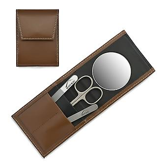 Mont Bleu 3-piece Manicure Set in a Premium Light Brown Leather Case with Mirror & Crystal Nail File - Steel