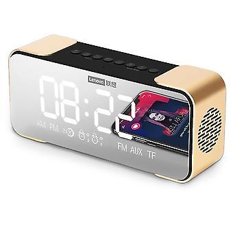 Bt Luidspreker Radio Alarm Diy Ringtone One-click Snooze Bt Call Speaker (Goud)