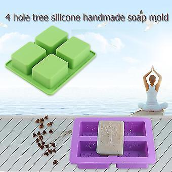 4 Hålighet Rektangulär trädform Silikon Diy mögel för handgjord tvålkaka