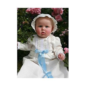 Vestido de bautizo en lino blanco hueso con mangas largas