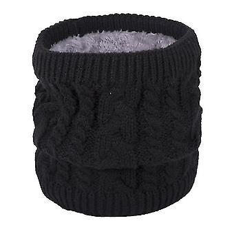 Teplá šála v zimě, all-match pletená šála pro páry, čistá barva plus sametová šála (černá)