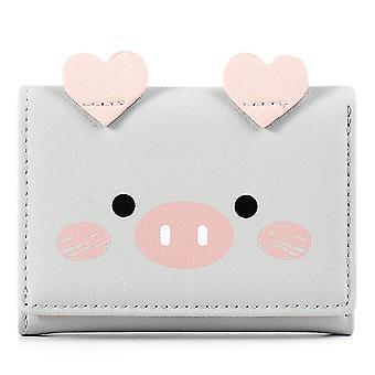 Short three-fold wallet multi-card women's wallet(Gray)
