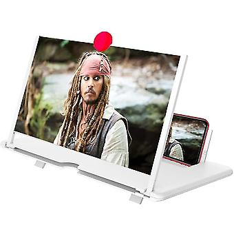 """12"""" Screen Magnifier 3d Hd Mobile Phone Magnifier Projector Screen Supports All Smartphones(White)"""