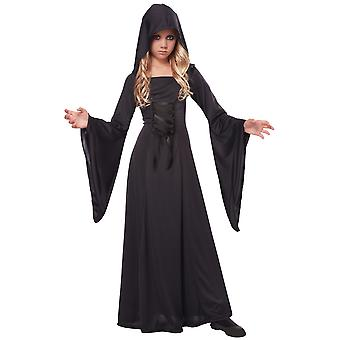 Black Hooded Robe Witch Sorceress Vampire Gothic Medieval Ghost Girls Costume