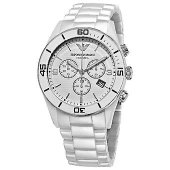 Emporio Armani AR1424 White & Steel Dial Ceramica Chronograph Watch