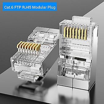 Connector cat7/6/5e stp 8p8c modular ethernet cable head plug gold-plated for network rj 45 crimper connectors